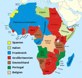 Carte des colonies occidentales en Afrique 1900