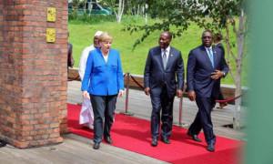 La chancelière Angela Merkel, Président Alpha Condé (Guinée) et président Macky Sall (Sénégal) Berlin 12 juin 2017