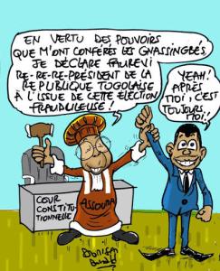 Source : Cour Constitutionnelle du Togo avalise la victoire frauduleuse de Faure Gnassingbé, 25 avril 2015   Caricature : Donisen Donald
